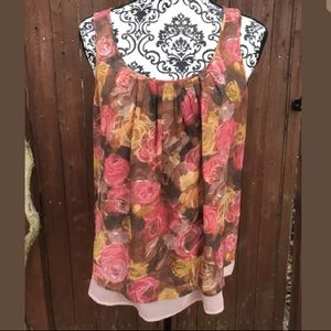 J Crew Small Sleeveless Top Floral Pink Spring